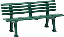 Sitzbank / Gartenbank 3-Sitzer: Sylt, Länge 150cm, grün (hochwertiger Kunststoff, Parkbank Made in Germany)