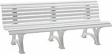 Sitzbank / Gartenbank 4-Sitzer: Borkum, Länge 200cm, weiß (hochwertiger Kunststoff, Parkbank Made in Germany)