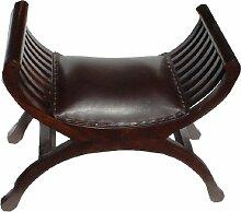 Sitzbank im Kolonialstil klein / Sitzmöbel mit Lederbezug