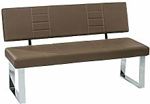 Sitzbank inkl. Rückenlehne mit Kunstleder, Farbton cappuccino, Gestell verchromt, Maße: B/H/T ca. 140/88/45 cm