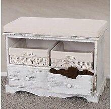 Sitzbank massivholz weiß Kommode Aufbetrueungstruhe Vintage Garderobenbank neu