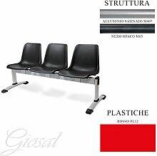 Sitzbank Milena 3Sitzer Büro Studio Warteraum Metall Stuhl Kunststoff verschiedene Farben giosal ro