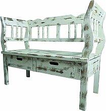 Sitzbank mit 2 Schubladen 01 braun/antikweiß 105