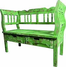 Sitzbank mit 2 Schubladen 01 grün/antikweiß 105