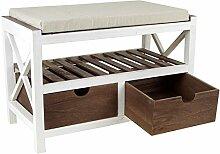 Sitzbank mit 2 Schubladen im Landhaus Stil weiß/braun