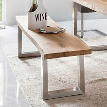 Sitzbank mit Baumkante Edelstahl