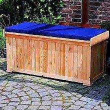 Sitzbank mit Kissenbox inkl. Sitzauflage Holzbank 120x51x56cm Gartenbank Holz