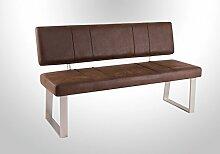 Sitzbank mit Rückenlehne in braunem Vintage-Look, Gestell in Edelstahloptik, Maße: B/H/T ca. 140/88/45 cm