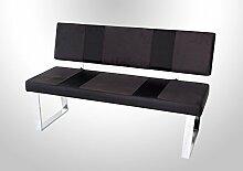 Sitzbank mit Rückenlehne in grau mit Absetzungen in schwarzem Mikrofaserstoff, Gestell verchromt, Maße: B/H/T ca. 140/88/45 cm