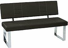 Sitzbank mit Rückenlehne in schwarzem Kunstleder, Gestell verchromt, Maße: B/H/T ca. 140/88/45 cm