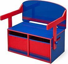 Sitzbank & Schreibtisch mit Stauraum (Blau/Rot)