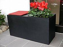 Sitzbank SIT mit praktischem Pflanztrog L100x B40x H50cm aus Fiberglas in schwarz-anthrazit, Pflanzkübel, Blumenkübel, Pflanzgefäße