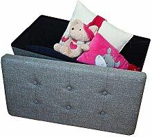 Sitzbank Stoffsitz mit Aufbewahrungsbox Sitzhocker Sitzwürfel Stauraum Platzsparend Faltbar Belastbar Grün-Grau 2676-21