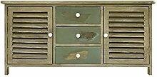 Sitzbank Truhenbank niedrig Schrank 3 Schubladen 2 Türen Grüne Meerwasser Farbe REBECCA MEDITERRANEAN im Vintage shabby Landhausstil (Cod. RE4344)