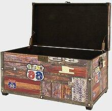 Sitzbank Vintage Sitztruhe mit Deckel Sitzhocker Kunstleder Holz Geschlossen Stauraum Klein Schlafzimmer Aufbewahrung Modern Ottomane Klappbar Sitzfläche Gepolsterte Bewahrungsbox Möbel &E Book