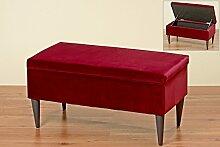 Sitzbank Ziena in Rot Samt 80x41cm mit Stauraum Bank