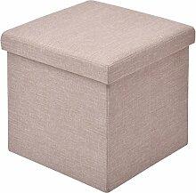 Sitzbox Sitzhocker Sitzwürfel Sitzkasten Sitztruhe Aufbewahrungsbox Truhe Klapphocker Ottomane Fußbank Faltbar Zusammenklappbar 38 x 38 x 38cm (hellbraun)