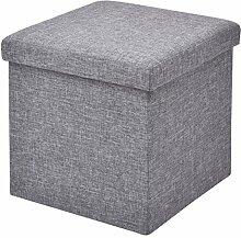 Sitzbox Sitzhocker Sitzwürfel Sitzkasten Sitztruhe Aufbewahrungsbox Truhe Klapphocker Ottomane Fußbank Faltbar Zusammenklappbar 38 x 38 x 38cm (grau)