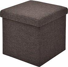 Sitzbox Sitzhocker Sitzwürfel Sitzkasten Sitztruhe Aufbewahrungsbox Truhe Klapphocker Ottomane Fußbank Faltbar Zusammenklappbar 38 x 38 x 38cm (braun)