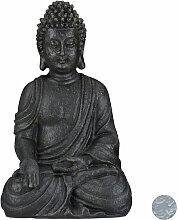 Buddha Figur Statue Dekofigur Feng Shui Garten Budda Skulptur sitzend grau 39 cm
