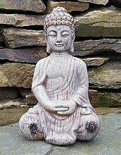 Sitzender Buddha Keramik Drift Holz Effekt Garten