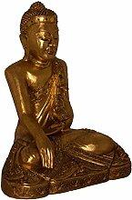 Sitzender Buddha Statue Figur Holz Massiv Antik