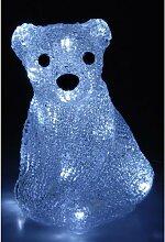 Sitzender Eisbär - Weihnachtsdeko mit Beleuchtung - 20 LED 20cm - Weihnachtsbeleuchtung