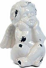 Sitzender Engel Cullom - 23cm weiß Vintage Shabby