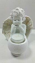 Sitzender Engel mit Teelichthalter für Kerzen