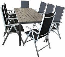 Sitzgarnitur Gartengarnitur Sitzgruppe Terrassenmöbel Gartenmöbel Terrassengarnitur 9tlg. - Polywood Gartentisch, 205x90cm + 8x 7-Positionen Hochlehner mit Textilenbespannung