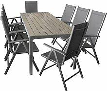 Sitzgarnitur Sitzgruppe Gartengarnitur Gartenmöbel Terrassenmöbel Set 9-teilig - Gartentisch, Aluminium, Polywood-Tischplatte, 205x90cm + 8x Hochlehner, klappbar, 2x2 Textilen