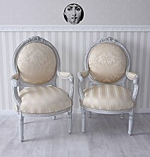 Französischer Sessel Barock Landhaus Toile de Jouy Stuhl Shabby Chic