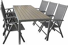 Sitzgruppe Gartengarnitur Gartenmöbel Terrassenmöbel Set 7-teilig - Gartentisch, Aluminium, Polywood-Tischplatte, 205x90cm + 6x Hochlehner, klappbar, 2x2 Textilen
