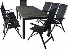Sitzgruppe Gartengarnitur Gartenmöbel Terrassenmöbel Set 9-teilig - Ausziehtisch, 224/284/344x100cm, Polywood-Tischplatte, schwarz + 8x Hochlehner, klappbar, 4x4 Textilenbespannung, Polywood Armlehnen