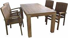Sitzgruppe Holz 180x90x75cm Tisch 4x Sessel Teak