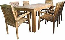 Sitzgruppe Holz 180x90x75cm Tisch 6x Sessel Teak
