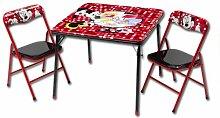 Sitzgruppe- Kindertisch - Kindersitzgruppe - Falttisch mit 2 Stühlen mit Motivauswahl (Minnie Mouse)