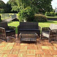 Sitzgruppe Polyrattan Gartenlounge 4 tlg. Set Sitzgarnitur Gartenmöbel Sitzecke
