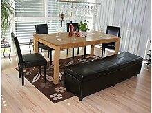 Sitzgruppe schwarz Leder/Kunstleder 4 x Stühle Sitzbank modern günstig Stuhlse