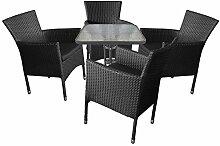 Sitzgruppe Sitzgarnitur Gartengarnitur Balkonmöbel Campingmöbel Gartenmöbel Terrassenmöbel Set - Gartentisch, Glasplatte, 60x60cm + 4x Polyrattan Stapelsessel, schwarz inkl. Sitzkissen
