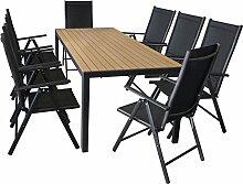 Sitzgruppe Sitzgarnitur Terrassenmöbel Gartengarnitur Aluminium Polywood Gartentisch 205x90cm + 7-Positionen Hochlehner mit 2x2 Textilenbespannung