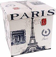 Sitzhocker faltbar gepolstert Sitzkiste mit Deckel unterschiedliche Motive (Paris Style)