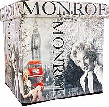 Sitzhocker faltbar Sitzwürfel Fußbank Aufbewahrungsbox Motiv Marilyn Retro