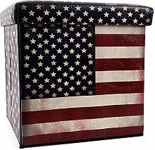 Sitzhocker faltbar Sitzwürfel Fußbank Aufbewahrungsbox Motiv USA Stars & Stripes