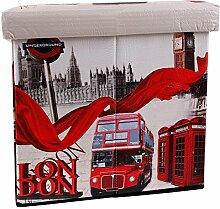 Sitzhocker faltbar Sitzwürfel Fußbank Aufbewahrungsbox Motiv London Bus England