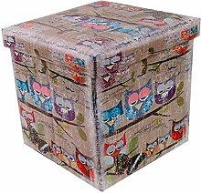 Sitzhocker faltbar Sitzwürfel Fußbank Aufbewahrungsbox Motiv Funny Eulen II