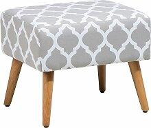 Sitzhocker Grau/Weiß Baumwolle Holzbeine Modern