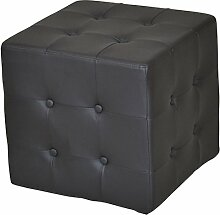 Sitzhocker H110, Sitzwürfel Hocker, Kunstleder ~ schwarz