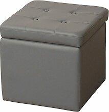 Sitzhocker H112, Sitzwürfel Hocker, Kunstleder ~ grau