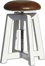 Sitzhocker Hocker gepolstert höhenverstellbar rund Ø 30 cm Holz weiß